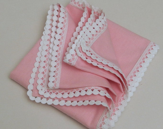 Baby Blanket Flannel Blanket Receiving Blanket Pink Dots White Lace Personalized Pink Girl Blanket Crib Swaddle Blanket Baby Shower Gift