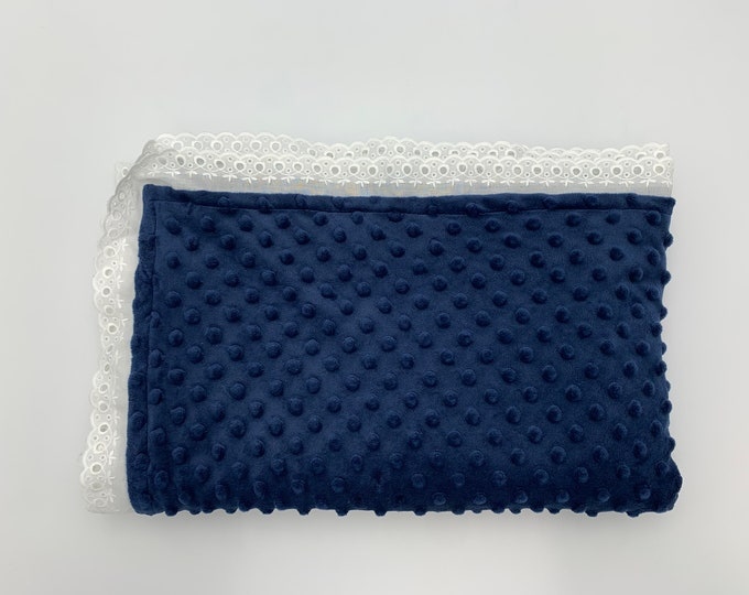 Minky Baby Blanket Navy Blue White Lace Embroidered Personalized
