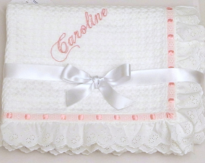 Baptism Baby Blanket White Cotton Lace Embroidered Eyelet Personalized Pique Blanket Boy Girl Shower Gift Crib Stroller Toddler Blanket