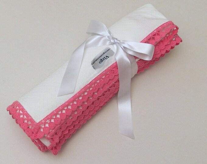 Baby Blanket Flannel Blanket Receiving Blanket Pink Dots Lace Girl Blanket Pique Flannel Baby Blanket Crib Swaddle Blanket Baby Shower Gift
