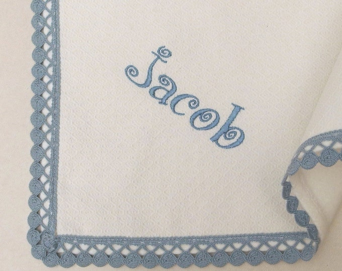 Flannel Blanket Personalized Baby Blanket Dots White Blue Gray Lace Boys Blanket Pique Flannel Crib Swaddle Blanket Baby Shower Gift