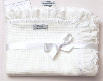 Baptism Blanket Baby Blanket Lace Blanket Cotton White Embroidered Eyelet Pique Christening Boy Girl Shower Gift Crib Personalized Stroller