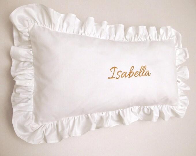 Ruffled Pillowcase Ruffled Sham Personalized White Pink Green Blue Yellow Baby Bedding Nursery Decor Baby Shower Gift Baptism Gift