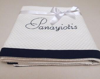 Baptism Blanket Navy Baby Blanket Personalized Monogrammed Cotton Pique Crib Blanket Baby Shower Gift Stroller Blanket Toddler Blanket