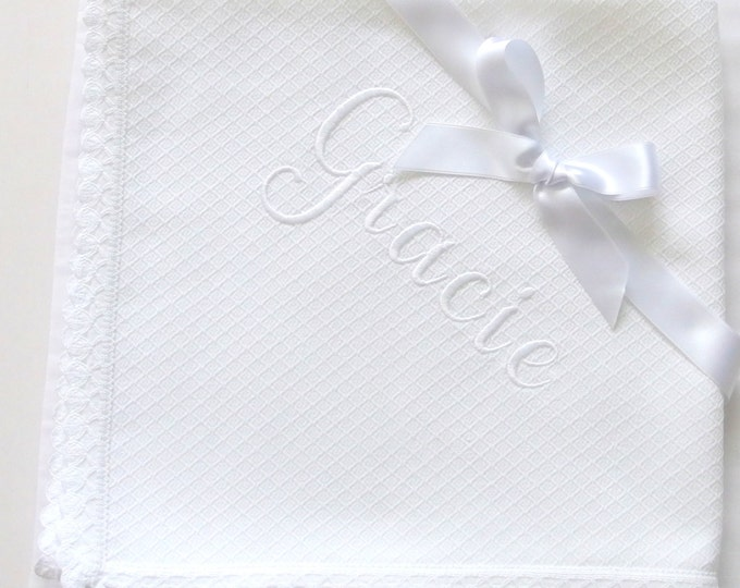 Personalized Baby Blanket Flannel Blanket Flannel Baby Blanket Dots Lace Baby Blanket Pique Flannel Crib Swaddle Blanket Baby Shower Gift