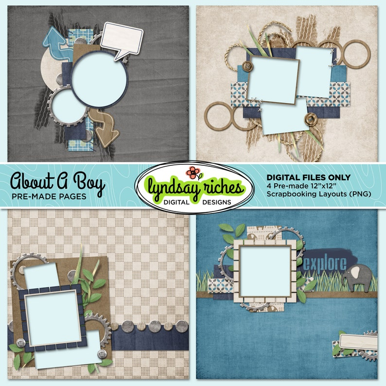 Scrapbook Pages  About A Boy  Printable  Quick Pages image 0