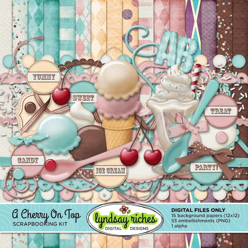 Digital Scrapbooking Kit  A Cherry On Top  Printable  Paper image 0