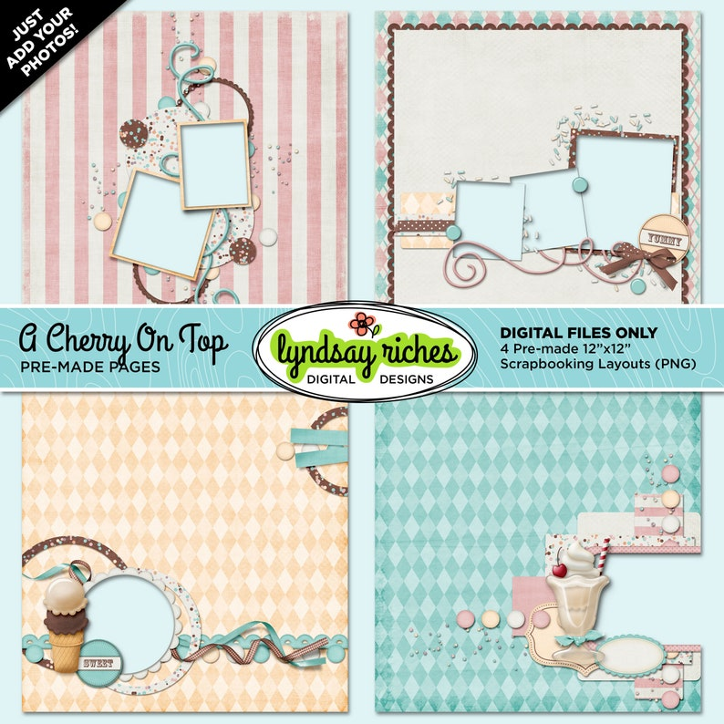 Scrapbook Pages  A Cherry On Top  Printable  Quick Pages image 0