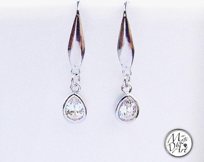 Featured listing image: Cubic Zirconia Crystal Teardrop Stainless Steel Earrings - CZ Drop Earrings for Women - Dangle Earrings
