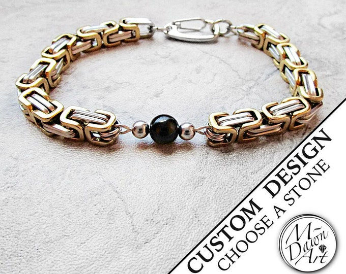 Featured listing image: Men's Personalized Natural Stone Silver & Gold Stainless Steel Byzantine Chain Bracelet - Custom Chain Link - Chainmaille Gemstone Bracelet