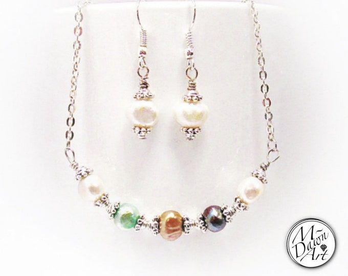 Featured listing image: Personalized Natural Multicolor Baroque Freshwater Pearls Earrings & Curve Bar Pendant Necklace - Stainless Steel or Silver Pearl Jewelry