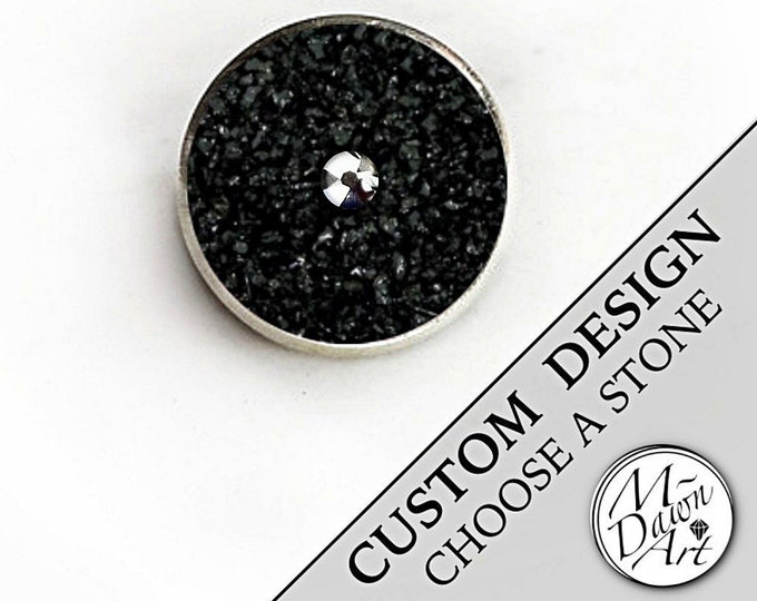 Featured listing image: Mens Personalized Natural Crushed Stone or Shell Inlay & Chrome Swarovski Crystal Stainless Steel Silver Custom Size Tie Tack / Lapel Pin