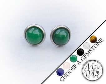 0a4125d42 Personalized Natural Gemstone Stainless Steel 8mm Stud Earrings - Unisex /  Men's / Women's Silver Steel Raw Stone Studs - Silver Studs