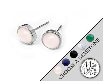 e3485611a Personalized Natural Stone Round Flat Stainless Steel 8mm Stud Earrings -  Unisex Raw Stone Studs - Men's Studs - Women's Silver Tone Studs