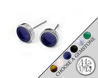 f87e2991e Personalized Gemstone 6mm Round Flat Stainless Steel 8mm Stud Earrings -  Unisex Natural Raw Stone Studs - Men's / Women's Silver Tone Studs