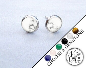 4fa563329 Mens Personalized Natural Stone Stainless Steel 8mm Stud Earrings - Custom  Made Men's Silver Steel Raw Gemstone Studs