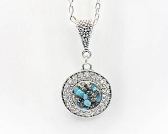 Natural Stone Crushed Turquoise, Pyrite & Crystal Circle Pendant Semiprecious Gemstone Necklace