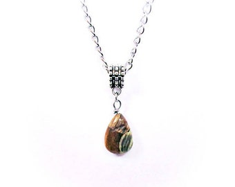 Mens Natural Stone Teardrop Fossil Jasper Bead Pendant Necklace - Men's Stainless Steel Curb Chain - Pear Shaped Stone Pendant
