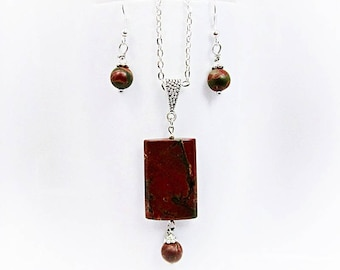 Natural Stone Artistic Red & Green Picasso Jasper Bead Earrings and Rectangle Reversible Pendant Necklace Semiprecious Gemstone Jewelry Set