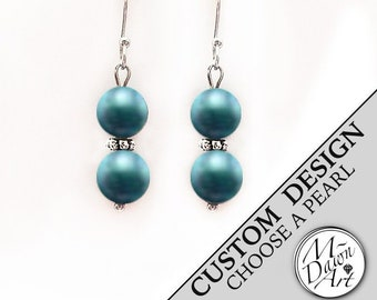Personalized Double Glass Pearl Stainless Steel Dangle Earrings - Pearl Earrings - Drop Earrings - Designer Handcrafted Earrings