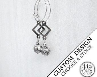 Personalized Gemstone & Triangle Dangle Hoop Earrings - Womens Stone Stainless Steel Earrings - Silver Geometric Triangle Hoop Earrings