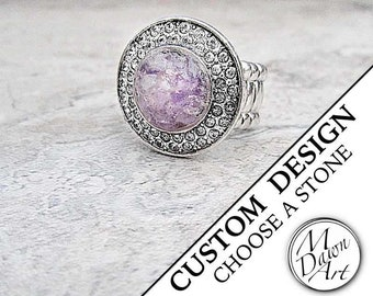 Personalized Stone or Shell Inlay & Crystal Round Stretch Cocktail Statement Ring