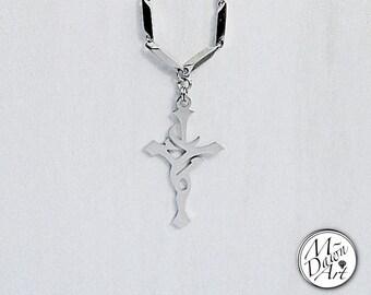 Mens Tribal Cross Stainless Steel Pendant Titanium Necklace - Men's Designer Melon Chain Necklace - Custom Handcrafted Pendant Necklace