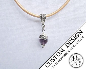 Personalized Natural Gemstone Drop Antique Silver Pendant Leather Necklace - Semi Precious Raw Stone Pendant - Custom Handcrafted Jewelry