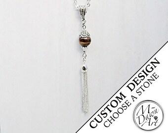 Personalized Natural Gemstone Bead Tassel Pendant Necklace - Silver Tassel Jewelry - Semi Precious Raw Stone Pendant Necklace - Custom Made