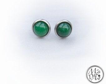Unisex Natural Green Jade Stainless Steel Stud Earrings - Raw Gemstone Stud Earrings - Men's Stud Earrings - Women's Stud Earrings - Studs