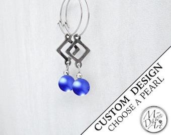 Personalized Glass Pearl Bead & Triangle Stainless Steel Geometric Dangle Hoop Earrings - Pearl Earrings - Drop Earrings - Custom Earrings
