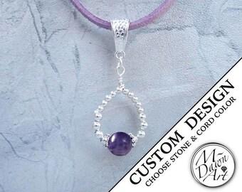 Personalized Natural Gemstone Silver Graduated Bead Drop Pendant Microfiber Suede Necklace - Womens Custom Raw Semiprecious Stone Jewelry