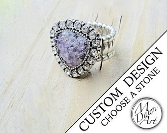 Personalized Crushed Natural Stone Inlay & Crystal Trillion Semiprecious Gemstone Antique Silver Stretch Cocktail Statement Ring