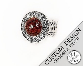 Personalized Stone or Shell Inlay & Swarovski Crystal Round Stretch Cocktail Statement Ring