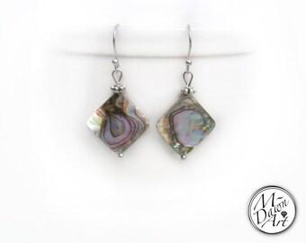 Natural Abalone Shell Rhombus Stainless Steel Dangle Earrings - Paua Shell Earrings - Diamond Shaped Earrings