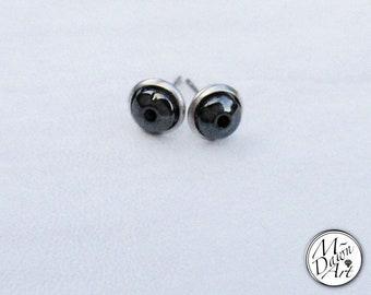 Mens Natural Hematite Hollow Point Stainless Steel Stud Earrings - Raw Gemstone Stud Earrings - Men's Stud Earrings - Stone Earring Studs