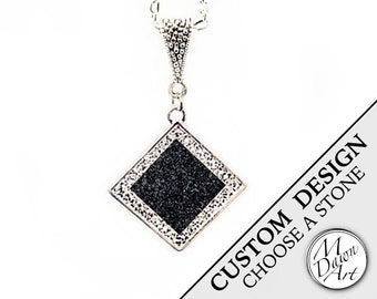 PERSONALIZED CUSTOM DESIGN Natural Raw Crushed Stone Inlay & Crystal Diamond Shape Semiprecious Gemstone Pendant Silver Necklace