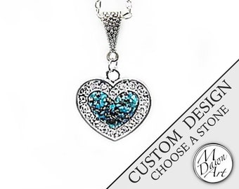 PERSONALIZED CUSTOM DESIGN Natural Raw Crushed Stone Inlay & Crystal Heart Semiprecious Gemstone Pendant Silver Necklace