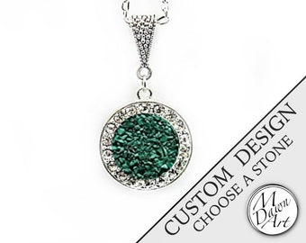 PERSONALIZED CUSTOM DESIGN Natural Raw Crushed Stone Inlay & Crystal Circle Semiprecious Gemstone Pendant Silver Necklace