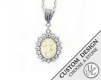 PERSONALIZED CUSTOM DESIGN Natural Raw Crushed Stone Inlay & Crystal Oval Semiprecious Gemstone Antique Silver Pendant Necklace