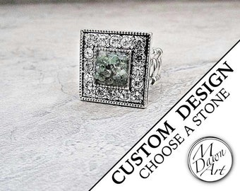 Custom Handcrafted Natural Raw Crushed Stone Crystal Square Semiprecious Gemstone Antique Silver Stretch Cocktail Statement Ring