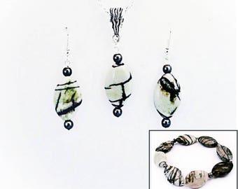 Natural Stone Black & Gray Zebra Jasper and Hematite Earrings, Necklace and Stretch Bracelet Semiprecious GemstoneJewelry Set