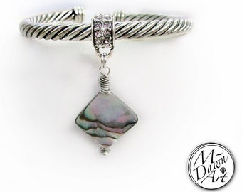 Wire Wrapped Natural Abalone Shell Rhombus Charm & Crystal Cable Cuff Bracelet - Diamond Shape Abalone/Paua Shell Antique Silver Bracelet
