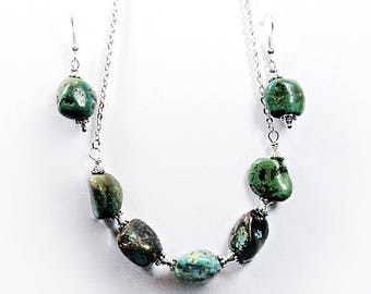 Natural Stone Untreated Turquoise Nugget Earrings & Silver Necklace Semi Precious Gemstone Chakra Jewelry Set