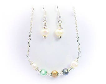 Natural Stone Multicolor Baroque Freshwater Pearls Silver Semi Precious Gemstone Jewelry Set
