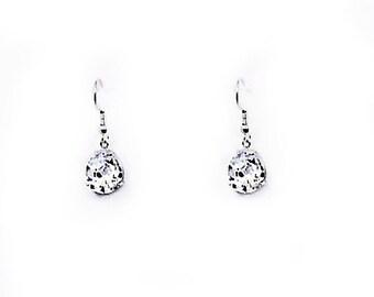Cubic Zirconia Crystal Teardrop Earrings - Sterling Silver Earrings - CZ Pear Shaped Earrings - CZ Drop Earrings - CZ Dangle Earrings