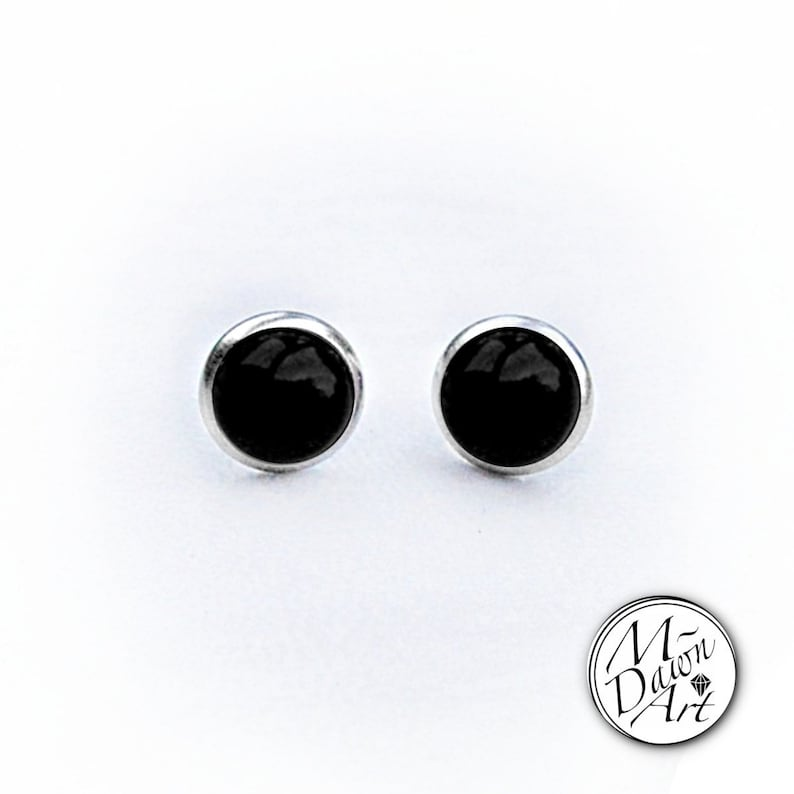 Natural Black Agate Stainless Steel 8mm Stud Earrings  Silver image 0
