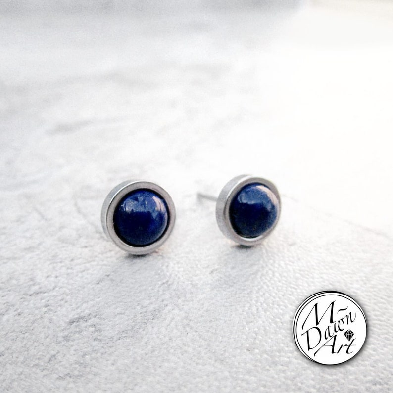 Natural Lapis Lazuli Stainless Steel 8mm Flat Frame Round Stud image 0