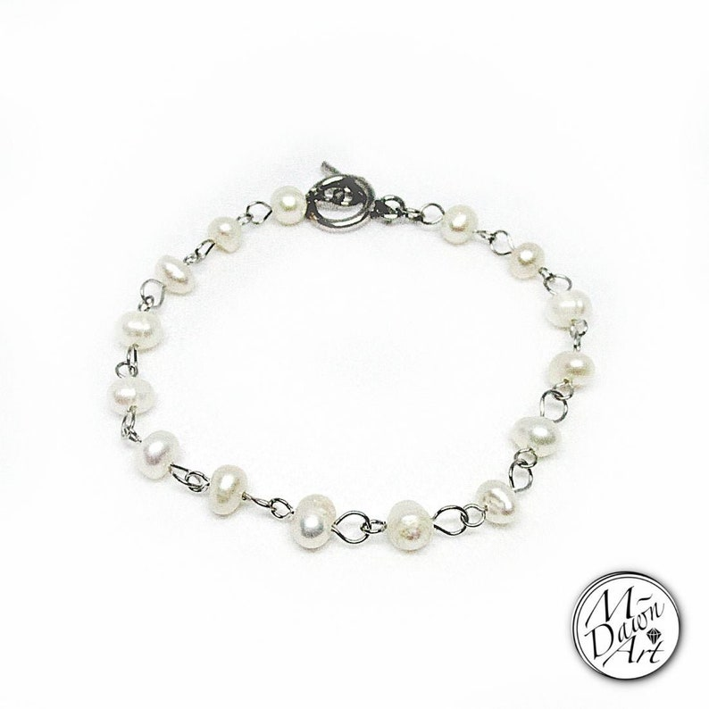 Freshwater Pearls Toggle Bracelet Stainless Steel Beaded image 0