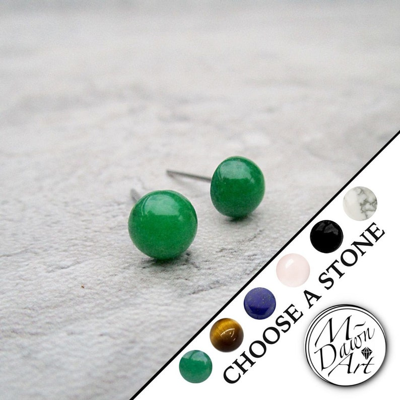 Personalized Domed Natural Gemstone Stainless Steel Stud image 0